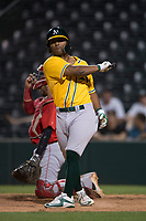 AZL Athletics third baseman Cobie Vance (16) takes a practice swing before an at bat during an Arizona League game against the AZL Angels at Tempe Diablo Stadium on June 26, 2018 in Tempe, Arizona. The AZL Athletics defeated the AZL Angels 7-1. (Zachary Lucy/Four Seam Images)