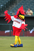 Memphis Redbirds mascot Rockey Redbird before a game versus the Round Rock Express at Autozone Park on April 28, 2011 in Memphis, Tennessee.  Memphis defeated Round Rock by the score of 6-5 in ten innings.  Photo By Mike Janes/Four Seam Images