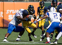September 17, 2011:  California's Marvin Jones fights for more yardage after receiving the ball during a game against Presbyterian at AT&T Park, San Francisco, Ca   California Defeated Presbyterian 63 - 12