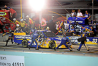 Nov. 14, 2008; Homestead, FL, USA; NASCAR Craftsman Truck Series driver Ron Hornaday Jr pits with 10 laps to go during the Ford 200 at Homestead Miami Speedway. Mandatory Credit: Mark J. Rebilas-