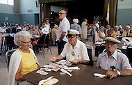 Miami, Florida, U.S.A, September, 1980. America severely marked by the recession.  In Miami Beach where there is great concentration of old people, they meet twice a week for dancing or cultural events. They are often nourished in soup kitchens.