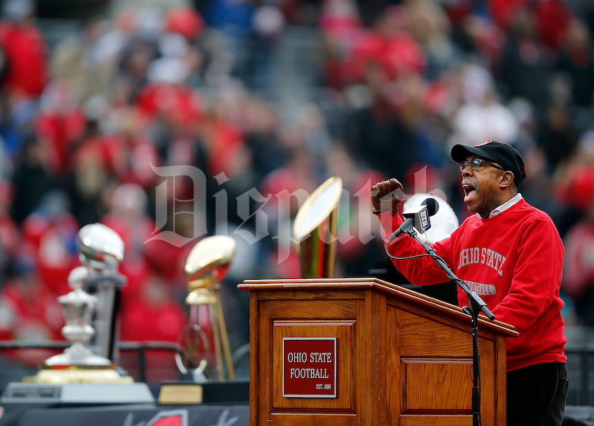 Ohio State president Michael V. Drake speaks during the Ohio State football National Championship celebration at Ohio Stadium on Saturday, January 24, 2015. (Columbus Dispatch photo by Jonathan Quilter)