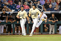 Vanderbilt Commodores outfielder JJ Bleday (51) sprints towards the plate during the ninth inning of Game 12 of the NCAA College World Series against the Louisville Cardinals on June 21, 2019 at TD Ameritrade Park in Omaha, Nebraska. Vanderbilt defeated Louisville 3-2. (Andrew Woolley/Four Seam Images)