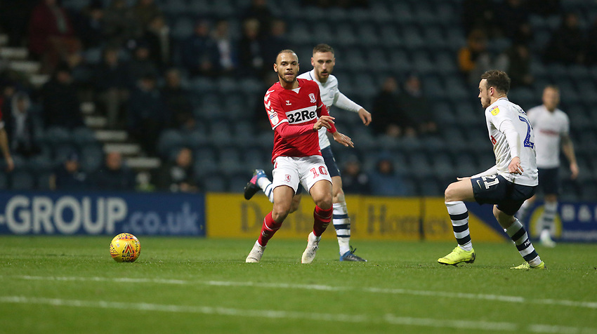 Middlesbrough's Martin Braithwaite<br /> <br /> Photographer Stephen White/CameraSport<br /> <br /> The EFL Sky Bet Championship - Preston North End v Middlesbrough - Tuesday 27th November 2018 - Deepdale Stadium - Preston<br /> <br /> World Copyright © 2018 CameraSport. All rights reserved. 43 Linden Ave. Countesthorpe. Leicester. England. LE8 5PG - Tel: +44 (0) 116 277 4147 - admin@camerasport.com - www.camerasport.com