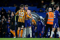Chelsea's Gary Cahill embraces Angus MacDonald of Hull City after the final whistle. Moments earlier he swapped his shirt with another Hull p[layer during Chelsea vs Hull City, Emirates FA Cup Football at Stamford Bridge on 16th February 2018