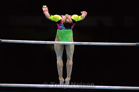 Girl on bars at Womens Team Gymnastics at the 1996 Summer Olympic Games<br />