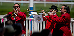 """ELMONT, NY - JUNE 09: Buglers play the """"Call to the Post"""" during Belmont Stakes Day at Belmont Park on June 9, 2018 in Elmont, New York. (Photo by Scott Serio/Eclipse Sportswire/Getty Images)"""