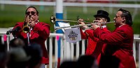 "ELMONT, NY - JUNE 09: Buglers play the ""Call to the Post"" during Belmont Stakes Day at Belmont Park on June 9, 2018 in Elmont, New York. (Photo by Scott Serio/Eclipse Sportswire/Getty Images)"