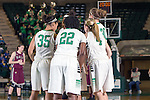 The North Texas Mean Green get ready for action during the game between the Arkansas Little Rock Trojans and the North Texas Mean Green at the Super Pit arena in Denton, Texas. UALR defeats UNT 52 to 48...