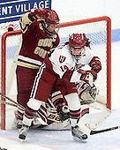 Mary Restuccia (BC - 22), Jillian Dempsey (Harvard - 14) - The Boston College Eagles defeated the Harvard University Crimson 4-2 in the 2012 Beanpot consolation game on Tuesday, February 7, 2012, at Walter Brown Arena in Boston, Massachusetts.