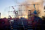 Olaf Breuning's smoke bomb installation.