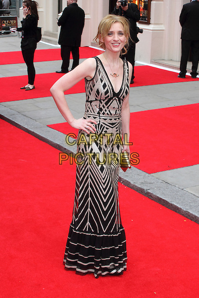 Anne-Marie Duff.The Laurence Olivier Awards 2013 at The Royal Opera House, London, England..April 28th, 2013.full length black dress beige pattern hand on hip.CAP/ROS.©Steve Ross/Capital Pictures..