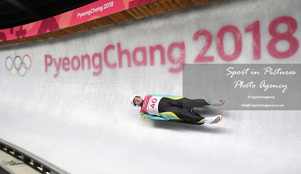 Nikita Kopyrenko (KAZ). Mens luge. Pyeongchang2018 winter Olympics. Alpensia sliding centre. Alpensia. Gangneung. Republic of Korea. 11/02/2018. ~ MANDATORY CREDIT Garry Bowden/SIPPA - NO UNAUTHORISED USE - +44 7837 394578