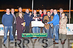 PRESENTATION: Clive Taylor and Jimmy Ferncombe owners of Rockview Head winner of the Gallivan-Murphy-Hooper-Dolan Juvenile Classic final being presented with the the winners trophy by Denis Murphy at the Kingdom Greyhound Stadium on Friday l-r: Kieran Casey (KGS), Declan Dowling (sales and operational manger KGS), Adrain Neilan (CEO IGB), Lizzy Body, Clive Taylor (owner), Cathy Taylor, Denis Murphy (sponsor), Seamus Moynihan (sponsor), Jimmy Ferncombe (owner), Taidgh Gallivan (sponsor), Maurice Ryan, Peter Cronin (trainer), Billy O'Dwyer (board of directors IGB) and Betty Ryan...