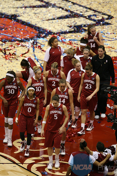06 APR 2010:  Stanford University walks off the court after their loss to the University of Connecticut during the Division I Women's Basketball Championship held at the Alamodome in San Antonio, TX.  Connecticut defeated Stanford 53-47 for the national title.  Rodolfo Gonzalez/NCAA Photos