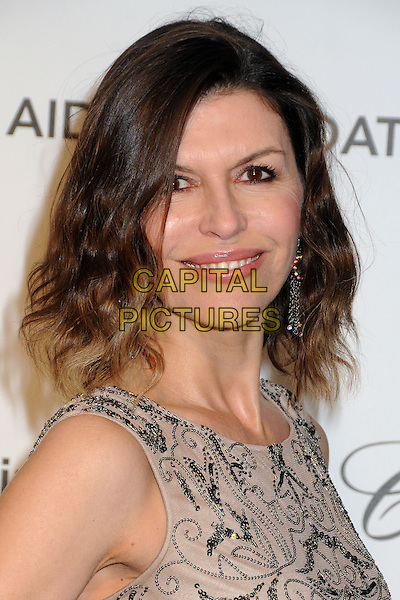 Finola Hughes.21st Annual Elton John Academy Awards Viewing Party held at West Hollywood Park, West Hollywood, California, USA..February 24th, 2013.oscars headshot portrait beige sleeveless beads beaded pattern .CAP/ADM/BP.©Byron Purvis/AdMedia/Capital Pictures.