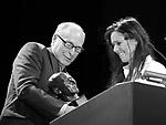 James Lapine and Julie Taymor  on stage at the Stage Directors and Choreographers Foundation event honoring Julie Taymor with the Mr. Abbott Award at the Bohemian National Hall on April 2, 2018 in New York City.