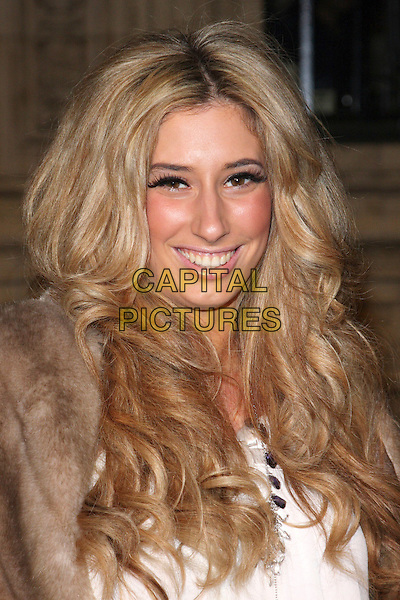 STACEY SOLOMON.Attending the Gala VIP Opening Night of Cirque du Soleil's 'Varekai' at the Royal Albert Hall, London, England, UK, .January 5th 2010..arrivals portrait headshot eyelashes make-up false smiling bronzer brown fur eye contact  .CAP/ROS.©Steve Ross/Capital Pictures.