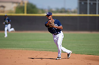 San Diego Padres second baseman Tucupita Marcano (67) makes a throw to first base during an Instructional League game against the Texas Rangers on September 20, 2017 at Peoria Sports Complex in Peoria, Arizona. (Zachary Lucy/Four Seam Images)