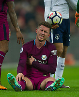 Manchester City America Laporte during the Premier League match between Tottenham Hotspur and Manchester City at Wembley Stadium, London, England on 14 April 2018. Photo by Andrew Aleksiejczuk / PRiME Media Images.