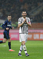 Calcio, Coppa Italia: semifinale di ritorno Inter vs Juventus. Milano, stadio San Siro, 2 marzo 2016. <br /> Juventus&rsquo; Leonardo Bonucci reacts during the Italian Cup second leg semifinal football match between Inter and Juventus at Milan's San Siro stadium, 2 March 2016.<br /> UPDATE IMAGES PRESS/Isabella Bonotto