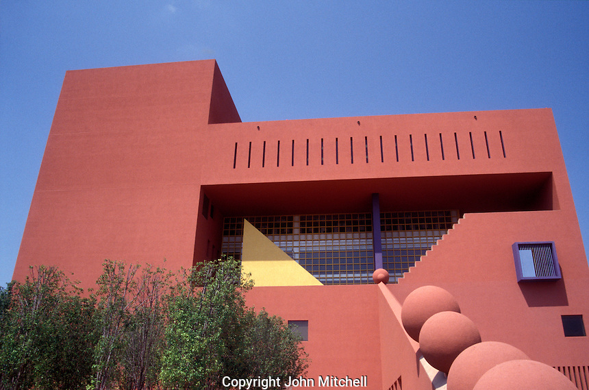 The San Antonio Central Library designed by Mexican architect Ricardo Legoretta, San Antonio, Texas, USA