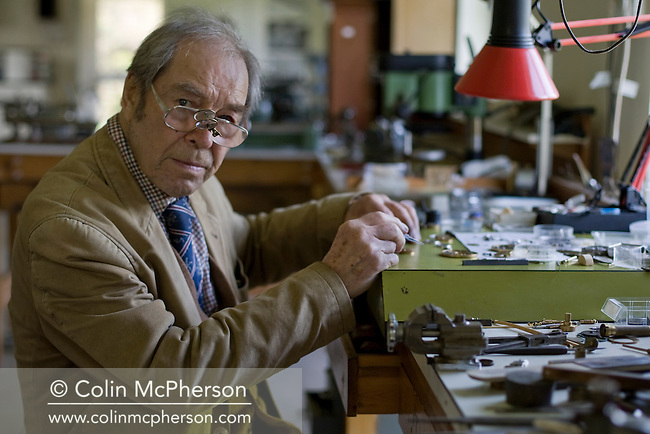 Master horologist George Daniels, pictured in his workshop in the grounds of his home in Ramsey, Isle of Man. Mr Daniels has been making watches for over 60 years and is famous for creating the co-axial escapement. He is one of the few living watchmakers who can create a complete watch by hand; including the case and dial and he is a former Master of the Clockmakers' Company of London.