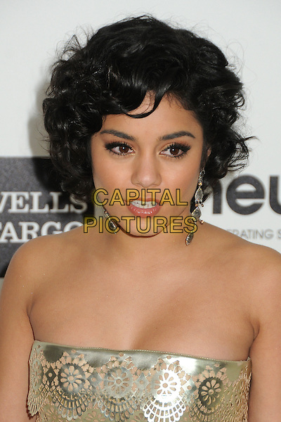 Vanessa Hudgens.20th Annual Elton John Academy Awards Viewing Party held at West Hollywood Park, West Hollywood, California, USA..February 26th, 2012.oscars headshot portrait dangling earrings gold strapless sequins sequined .CAP/ADM/BP.©Byron Purvis/AdMedia/Capital Pictures.