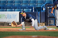 First Baseman Alex Toral (19) of West Orange High School in Davie, Florida playing for the Tampa Bay Rays scout team during the East Coast Pro Showcase on August 3, 2016 at George M. Steinbrenner Field in Tampa, Florida.  (Mike Janes/Four Seam Images)