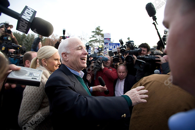 Senator John McCain, Republican presidential candidate, with his wife Cindy, greet voters on primary day, Nashua, New Hampshire, January 8, 2008