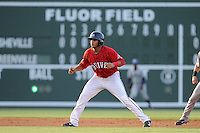 First baseman Aneudis Peralta (28) of the Greenville Drive takes a lead off second base in a game against the Asheville Tourists on Tuesday, July 1, 2014, at Fluor Field at the West End in Greenville, South Carolina. Asheville won, 5-2. (Tom Priddy/Four Seam Images)
