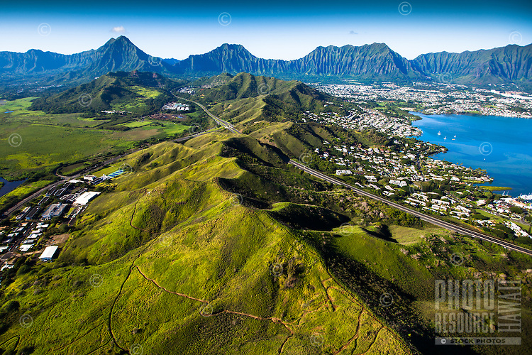 An aerial perspective of Kane'ohe Bay's Heʻeia Kea Small Boat Harbor and the Ko'olau Range, Windward O'ahu.