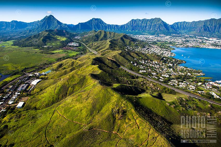 An aerial perspective of Kane'ohe Bay's Heʻeia Kea Small Boat Harbor and the Ko'olau Range, Windward O'ahu.