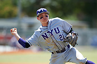 New York University Violets second baseman Ryan McLaughlin (21) throws to first base during a game against the Edgewood Eagles on March 14, 2017 at Terry Park in Fort Myers, Florida.  NYU defeated Edgewood 12-7.  (Mike Janes/Four Seam Images)