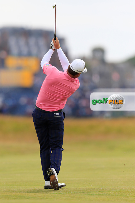 Graeme McDOWELL (NIR) plays his 2nd shot on the 15th hole during Monday's Final Round of the 144th Open Championship, St Andrews Old Course, St Andrews, Fife, Scotland. 20/07/2015.<br /> Picture Eoin Clarke, www.golffile.ie