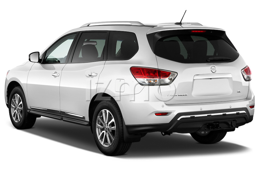 Nissan Pathfinder SUV 2013 Rear three quarter view Stock Photo