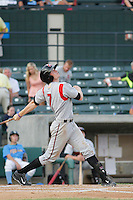 Carolina Mudcats outfielder Sean Godfrey (7) at bat during game two of a doubleheader against the Myrtle Beach Pelicans at Ticketreturn.com Field at Pelicans Ballpark on June 6, 2015 in Myrtle Beach, South Carolina. Carolina defeated Myrtle Beach 4-2. (Robert Gurganus/Four Seam Images)