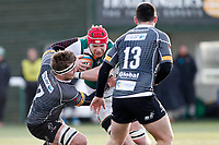 Kieran Murphy of Ealing Trailfinders attacks during the Championship Cup Quarter Final match between Ealing Trailfinders and Nottingham Rugby at Castle Bar , West Ealing , England  on 2 February 2019. Photo by Carlton Myrie / PRiME Media Images.