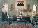 Iraq 2003 <br /> Nechirvan Ahmed , left,visiting the governor of Mosul, in the middle, Ghanem Basso, with Kerim Sinjari, right, on june 19th. The 2 visitors offer their help to fix the water supply in the city <br /> Irak 2003 <br /> A gauche, Nechirvan Ahmed, a droite, Kerim Sinjari, visitant le gouverneur de Mossoul, Ghanem Basso, lui proposant de remettre en service la distribution d'eau dans la ville.