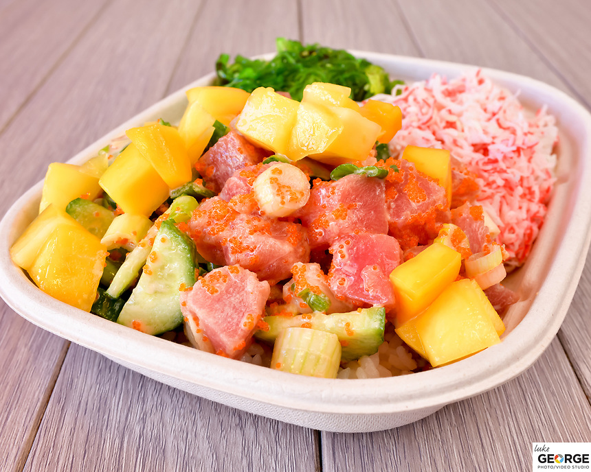 Poke Bar Walnut Creek Menu Shoot.  Bay Area restaurant photography by Luke George 2019.  More info at www.ilovepokebar.com