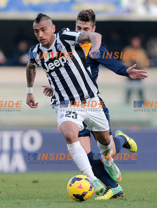 Arturo Vidal Juventus, Verona 9-2-2014, Stadio Bentegodi, Football Calcio 2013/2014 Serie A, Hellas Verona - Juventus, Foto Marco Bertorello/Insidefoto