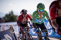 Green Jersey Nairo Quintana (COL/Movistar) in the race finale<br /> <br /> Stage 15: Tineo to Santuario del Acebo (154km)<br /> La Vuelta 2019<br /> <br /> ©kramon