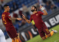 Roma&rsquo;s Mohamed Salah, right, celebrates with his teammate Leandro Paredes after scoring during the Europa League Group E soccer match between Roma and Astra Giurgiu at Rome's Olympic stadium, 29 September 2016. Roma won 4-0.<br /> UPDATE IMAGES PRESS/Isabella Bonotto