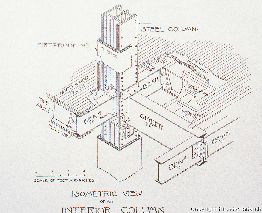 """William Le Baron Jenny :"""" Fair"""" Building, a department store in downtown Chicago, 1890.  Drawing of  isometric view of an interior column."""