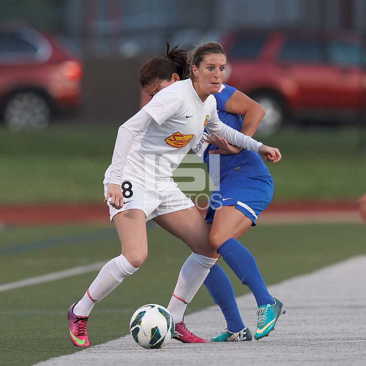 Western New York Flash forward Adriana Martin (8) controls the ball and looks to pass. In a National Women's Soccer League Elite (NWSL) match, the Boston Breakers (blue) tied Western New York Flash (white), 2-2, at Dilboy Stadium on June 5, 2013.