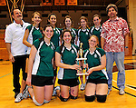 14 November 2010: The Vermont Commons School girls volleyball team poses after their victory in the 2010 Vermont State Volleyball Championships at Saint Michael's College in Colchester, Vermont. Participating schools included: the Enosburg Falls Hornets, the Lake Region Union Rangers, the Lyndon Institute Vikings, and the VCS Flying Turtles. The Boys Championship went to Lake Region Union High School, and for the third year in a row, the Girls Championship went to the Vermont Commons School. Mandatory Credit: Ed Wolfstein Photo