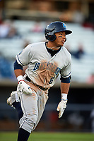 Lake County Captains left fielder Todd Isaacs (6) runs to first base during a game against the Quad Cities River Bandits on May 6, 2017 at Modern Woodmen Park in Davenport, Iowa.  Lake County defeated Quad Cities 13-3.  (Mike Janes/Four Seam Images)