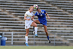 19 August 2016: Duke's Lizzy Raben (6) and Wofford's Katie Beuerlein (7) challenge for a header. Raben suffered an injury on the play and left the game. The Duke University Blue Devils played the Wofford College Terriers in a 2016 NCAA Division I Women's Soccer match. Duke won the game 9-1.
