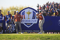Sergio Garcia (Team Europe) on the 13th tee during Saturday Foursomes at the Ryder Cup, Le Golf National, Ile-de-France, France. 29/09/2018.<br /> Picture Thos Caffrey / Golffile.ie<br /> <br /> All photo usage must carry mandatory copyright credit (© Golffile | Thos Caffrey)
