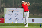 Tvesa Malik of India tees off at tee one during the 9th Faldo Series Asia Grand Final 2014 golf tournament on March 18, 2015 at Mission Hills Golf Club in Shenzhen, China. Photo by Xaume Olleros / Power Sport Images